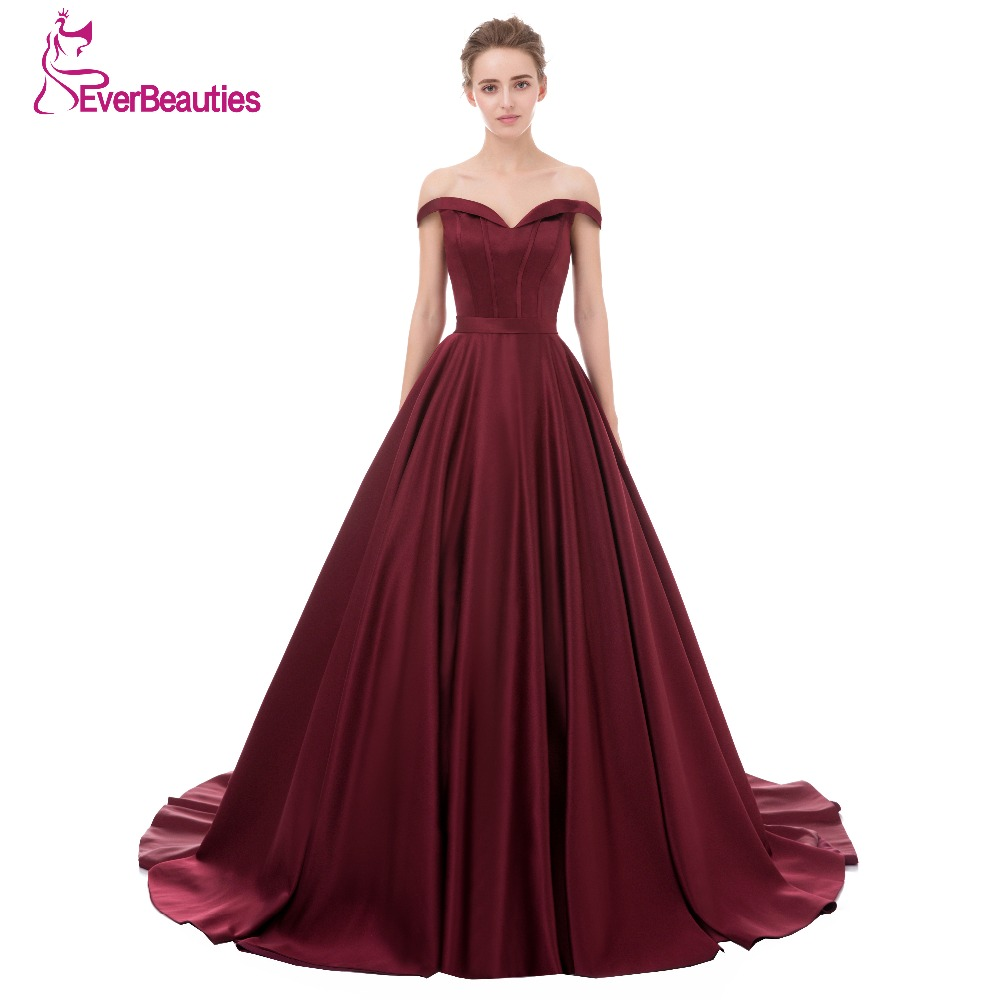 Evening Dress Long 2017 Wine Red Elegant Satin V Neck Prom Party Dresses Evening Gown Abendkleider