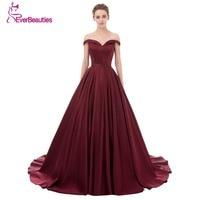 Evening Dress Long 2017 Wine Red Elegant Satin V Neck Prom Party Dresses Evening Gown Abendkleider Abiye Robe De Soiree