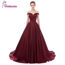 Wein Rot Elegantes Abendkleid Lange 2017 Satin V-ausschnitt Prom Party Kleider Abendkleid Abendkleider Abiye Robe De Soiree