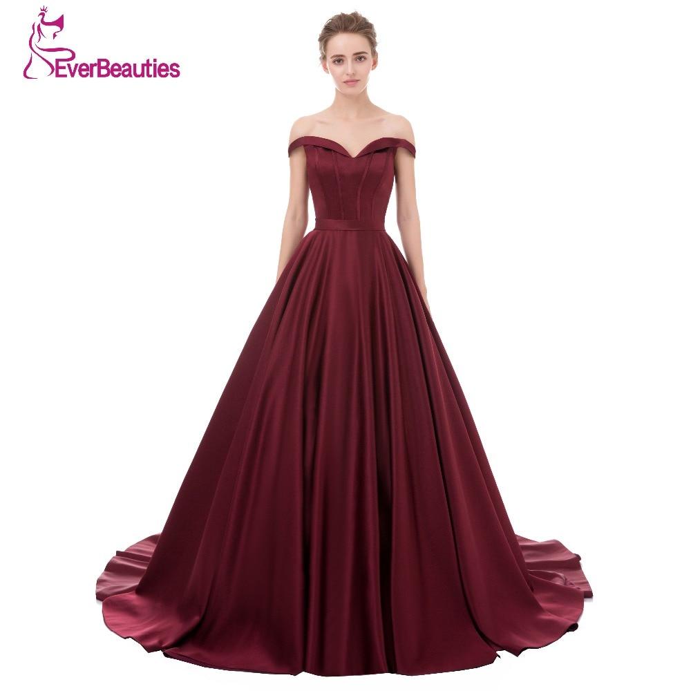 Evening Dress Long 2018 Wine Red Elegant Satin V Neck Prom Party Dresses Evening Gown Abendkleider Abiye Robe De Soiree