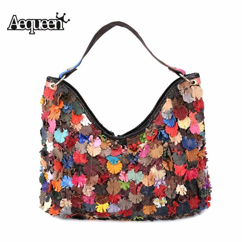9935e835c826 AEQUEEN Sheep Genuine Leather Shoulder Bags Women Handbags Floral Patchwork  Design Colorful Hobos Large Lady Totes