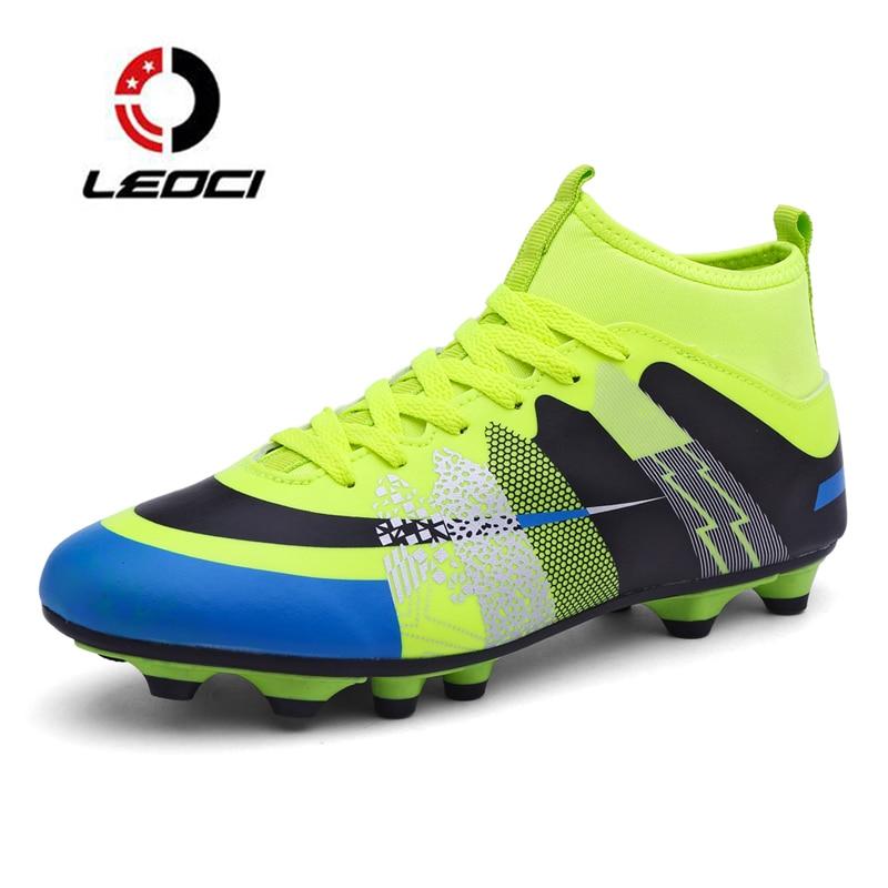 LEOCI High Ankle Soccer font b Shoes b font Fly Man Football font b Shoes b