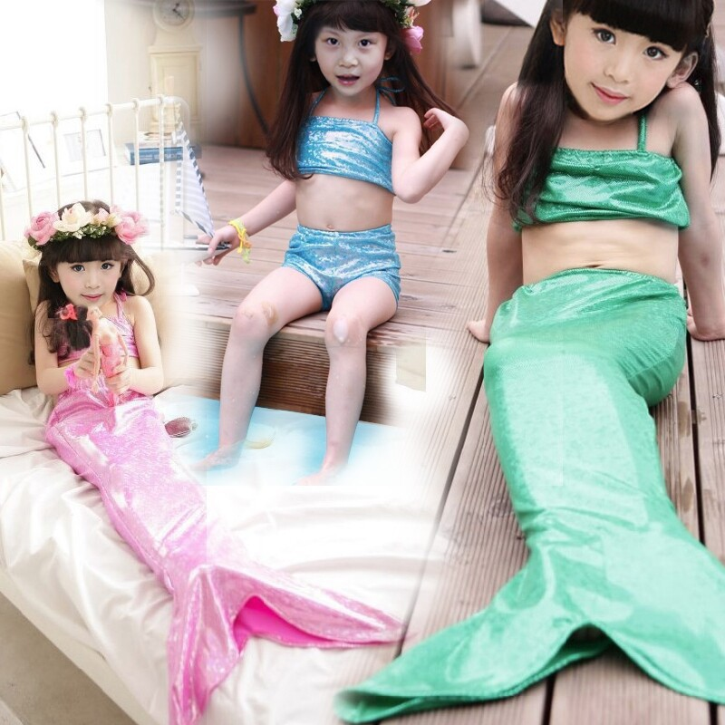 Kids Mermaid Tail Costumes Halloween Christmas New Year Custumes Mermaid Dress 3 Pieces Mermaid-tails Dress Girl Beach Wear