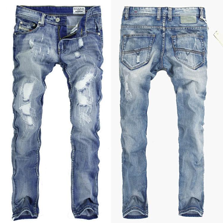 2015 Jeans Men Famous Designer Brand Patch Hole Denim ...