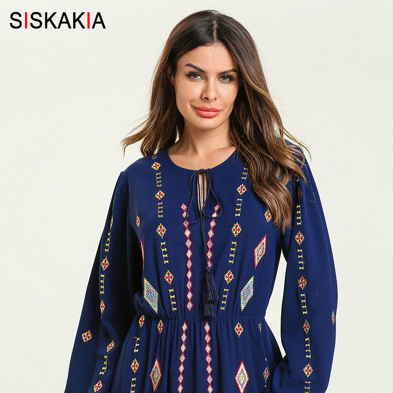 Siskakia Elegant Ethnic Geometric Embroidery Long Dress Blue Round Neck Long Sleeve High Waist Swing A line Dress Ankle Length-in Dresses from Women's Clothing    3
