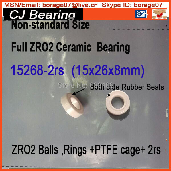 15268-2rs Ceramic wheel hub bearing zro2 15268 15*26*8mm full zro2 ceramic bike bearing 15267 2rs 15 26 7mm 15267rs si3n4 hybrid ceramic wheel hub bearing