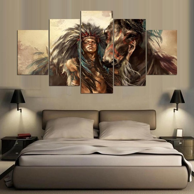 5 panel hd Native American girl and horse Art print canvas art wall framed paintings for living room wall picture