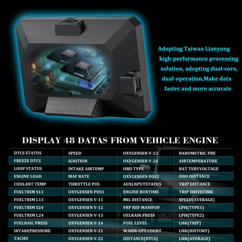 Drop P16 3 Inch LCD HUD Obd2 Car Head Up Display Auto Intelligent On Board Computer Car Speedometerhud Display Car Electronics