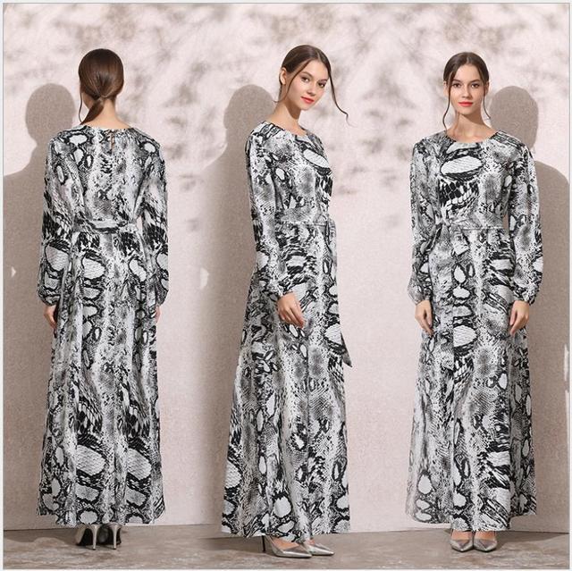 2091 Women Long Arabian Muslim Dress Snake Print O Neck Long Sleeve ...