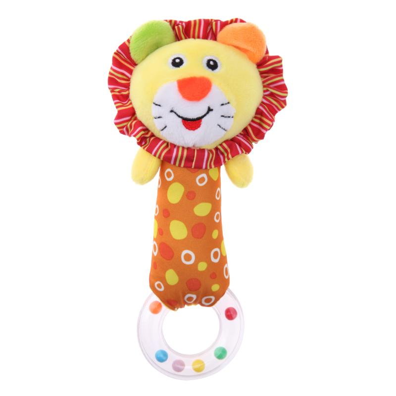 Cute Plush Cartoon Lion Hand Bells Baby Toys Baby Lovely Rattle Ring Bell Toy Early Educational Babies Plaything Toys