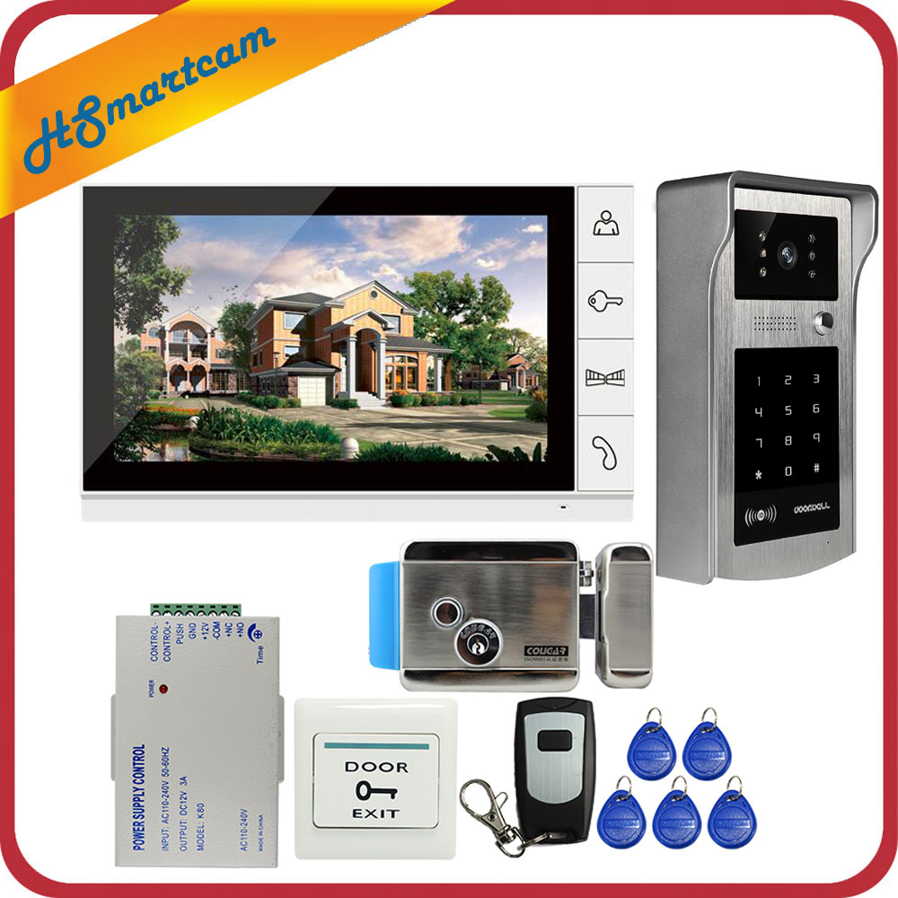 New 9 Inch Color Screen Video Door Phone Video Intercom Kit + Touch Outdoor RFID Code Keypad Number Doorbell Camera 1 Monitors