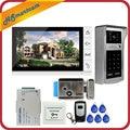 Nova 9 polegada Ecrã a Cores Telefone Video Da Porta de Vídeo Campainha Intercom Kit + Número de Código RFID Teclado de Toque Ao Ar Livre Da Câmera 1 monitores
