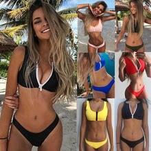 c7605953dbb2a 2018 Brand New Women Swimwear Bandage Bra Thong Bikini Set Push-up Padded  Bathing Zippers