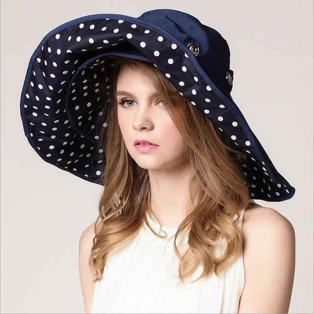 Top Quality Lady Sun Hat Summer Sun Cap Women Folded Wide Brim Dot Printing Cap  Large Brim Hat 45e6f1c8ff5