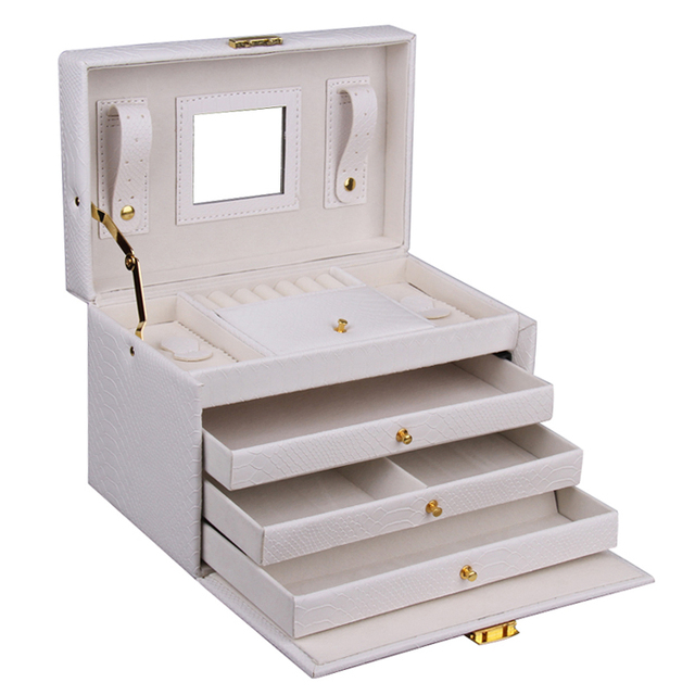 Jewelry Storage Box and Packaging Rings Display Organizer Girls Necklaces Holder Earrings Makeup Box Cosmetics Beauty