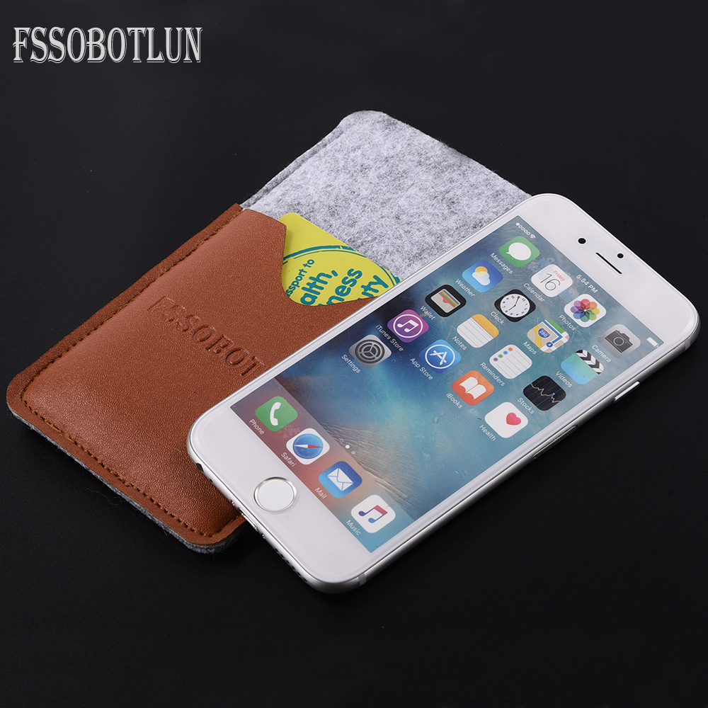 FSSOBOTLUN, For iPhone 7 Plus 5.5 PU Leather+Handmade Wool Felt Pouch With Card Pocket For Apple iPhone 6 Plus Case Sleeve