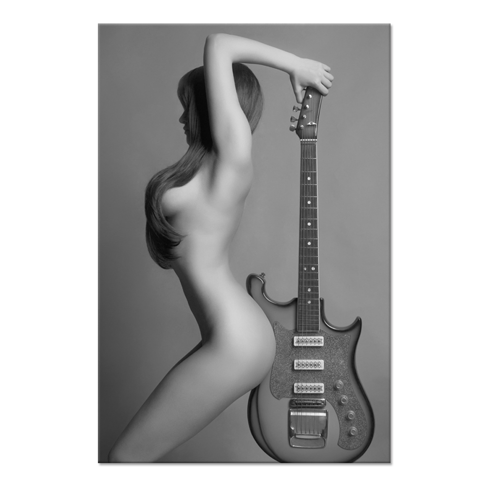 Black And White Sexy Nude Girl Lady With Guitar Photo Paintings Artwork On Canvas For Bedroom Decoration Unframed 24x36 ...