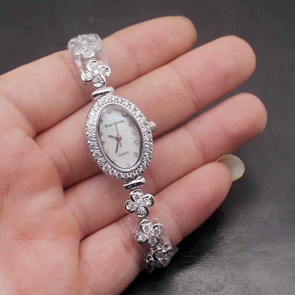 Women Jewelry Band Quartz Wristwatches Sterling Silver Watch Links Chain Bracelet 7.5 inch Free Shipping W32 sw 80001 quartz watch for women free shipping