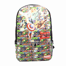 The Avengers Backpack Marvel Captain America Fashionable Laptop Backpacks  PU Leather High-Capacity Relaxation Bag School bags 764e02cb0ffa7