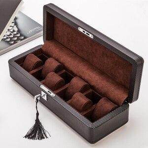 Image 5 - Yao 6 Slots Carbon Fibre Horloge Organisator Lederen Horloge Dozen Case Zwart Display Sieraden Gift Case Met Slot