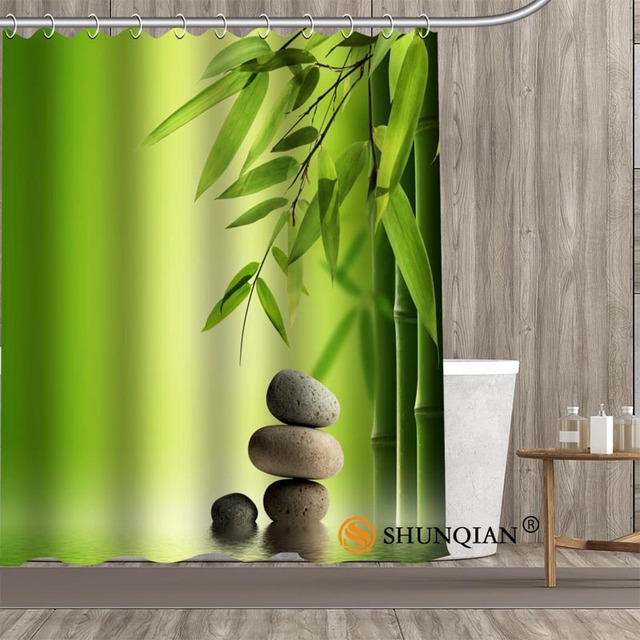 Bamboo Zen Shower Curtain Home Textile European Style Bathroom Decoration  Decor Peculiar Design Fabric Shower Curtains