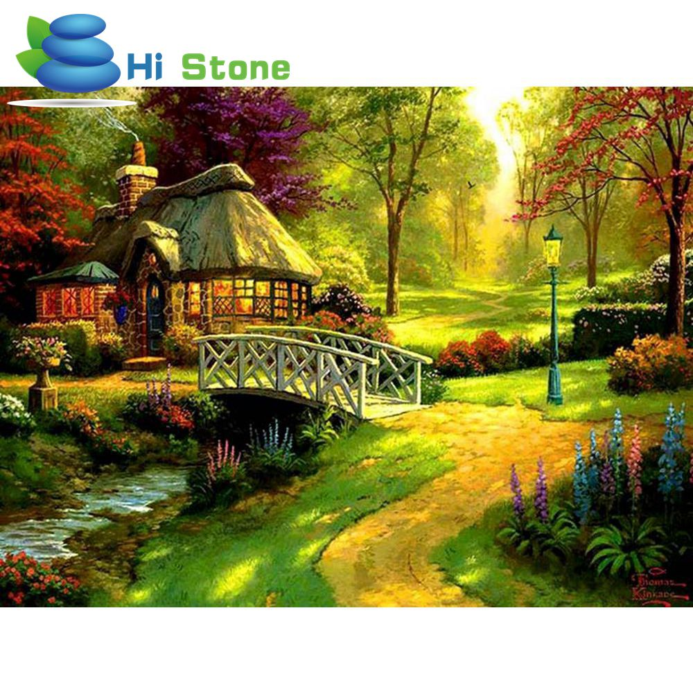2018,DIY,5D,diamond paintings, Full,Round,mosaic,landscapes,Garden Cottages,cross stitch suites,diamond embroidery,home decor