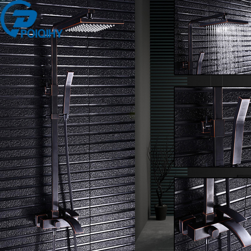 POIQIHY ORB Mixer Rain Shower Faucet Set Square Solid Brass Shower Head Bathroom Black Shower Faucet  Bathtub Shower Tap poiqihy chrome rain