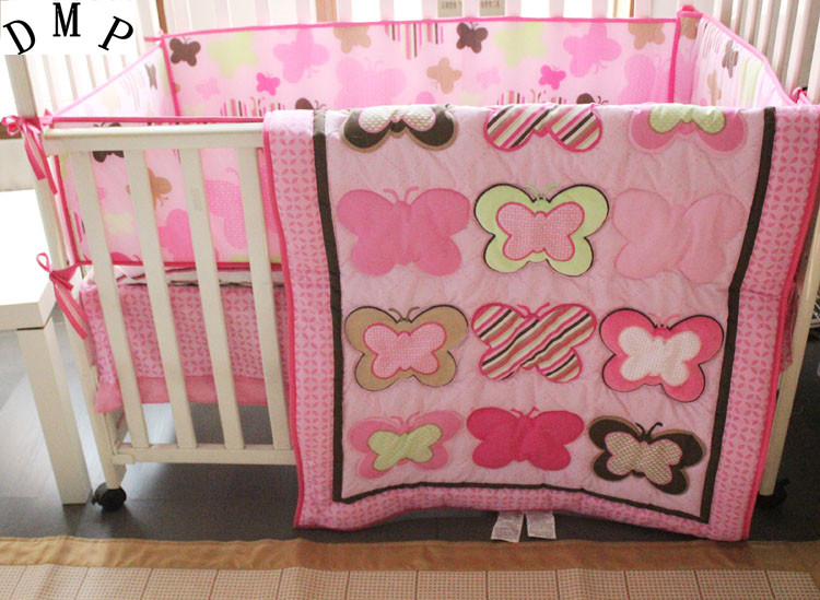 Promotion! 4pcs embroidered Baby Crib Bedding Set for Girls Cartoon Pink Cot Bedding ,include(bumper+duvet+bed cover+bed skirt) promotion 7pcs embroidered baby bedding set cartoon cot bed linen crib bedding include bumper duvet bed cover bed skirt