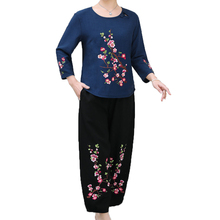 Woman Ethnical Suit Set Flower Embroidery Pant Cotton Linen Women Two-piece Vintage Top And Loose Suits Twinset XL