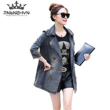 TNLNZHYN 2017 Spring Women's denim Trench Coat Casual Loose Big Yards Jeans Coat Long sleeves Women's Clothing Outerwear SK398