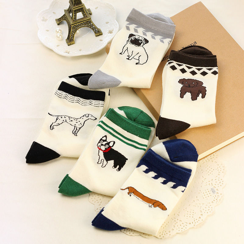 Cotton Men Women Husky Pugs Dogs Pattern Faithful dog Socks Harajuku Fashion Fun