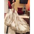 Gorgeous Casamento Gold Sequins Appliques Wedding Dresses Long Sleeves Court Train Vestido De Noiva V-neck Luxury Wedding Gowns
