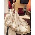Gorgeous Casamento Oro Lentejuelas Apliques Tribunal Tren Vestido De Noiva Boda Vestidos de Manga Larga Con Cuello En V Vestidos de Boda de Lujo