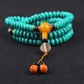 Ubeauty 6 мм 108 бирюзовый четки браслет с небо глазами spacer для Буддийской Медитации женщины ожерелье Ювелирные Изделия