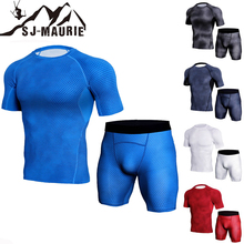 SJ-Maurie Gym Set Men Workout Jogging Suits Quick Dry Running Training Compression Elastic Tights Top + Shorts S-3XL