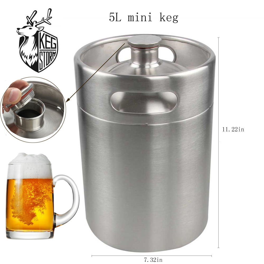5L KEG STORM 304 Stainless Steel Mini Keg Growler Portable Beer Bottle Making Bar Accessories Tool