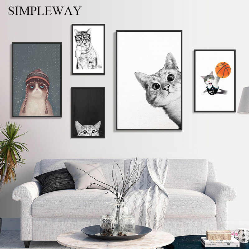 Kawaii Funny Animal Cat Wall Art Canvas Poster and Print Nursery Decorative Picture Painting Nordic Baby Kid Bedroom Decoration