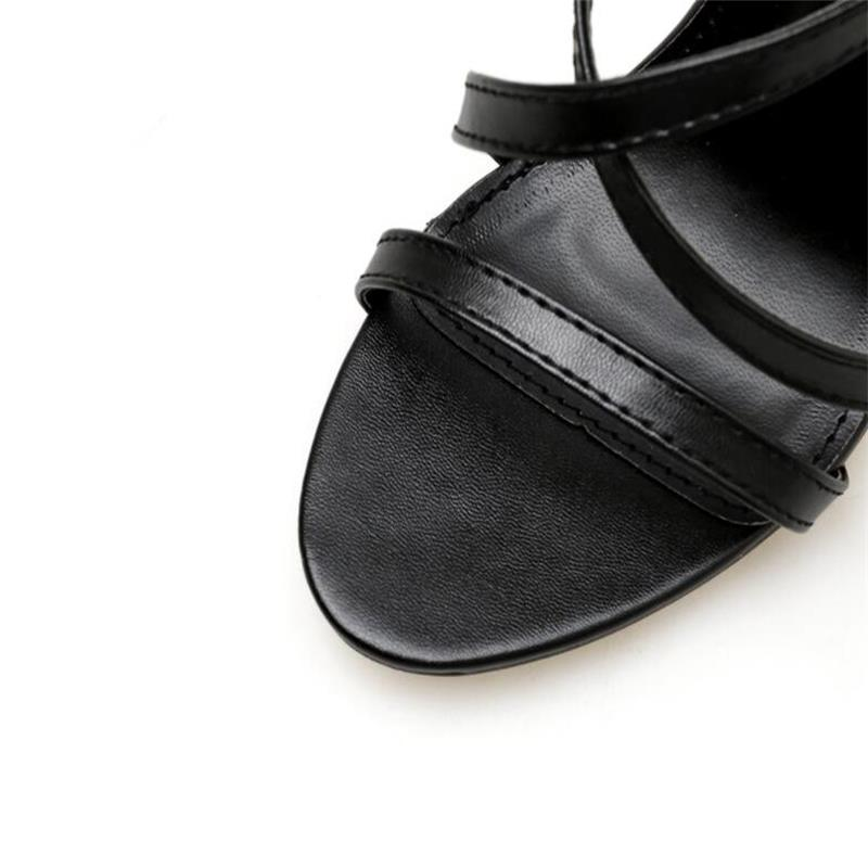 HiHopGirls New Summer Sandals Sexy Black Pu Multi-button Buckle Cross Roman Sandals Woman Fashion Banquet Shoes 4