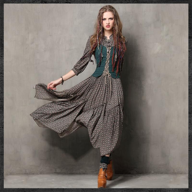 Femmes printemps automne Vintage robes robe ethnique col Mandarin une ligne femme Maxi robe broderie Bandage Vestidos J2949