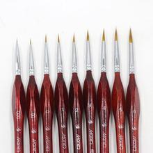 9 типов кистей для рисования, гуашь, масляная краска, без линии, тонкая профессиональная кисть, Соболь, кисть для окрашивания волос, миниатюрные принадлежности
