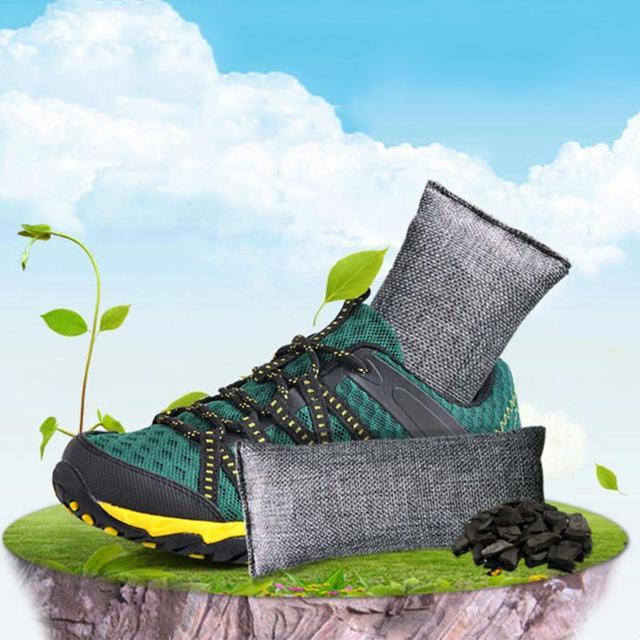 1 paia Mini Naturale di Purificazione Dell'aria Sacchetti di Lino Scarpe Carbone