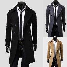Zogaa модные зимние осенние мужские тренчи длинное приталенное пальто куртка ветрозащитные пальто Модная Верхняя одежда Топы мужское шерстяное пальто