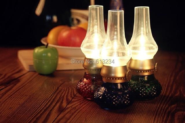 Free Shipping 1Piece USB Retro Blowing Control Kerosene Lamp Rechargeable LED Night Light