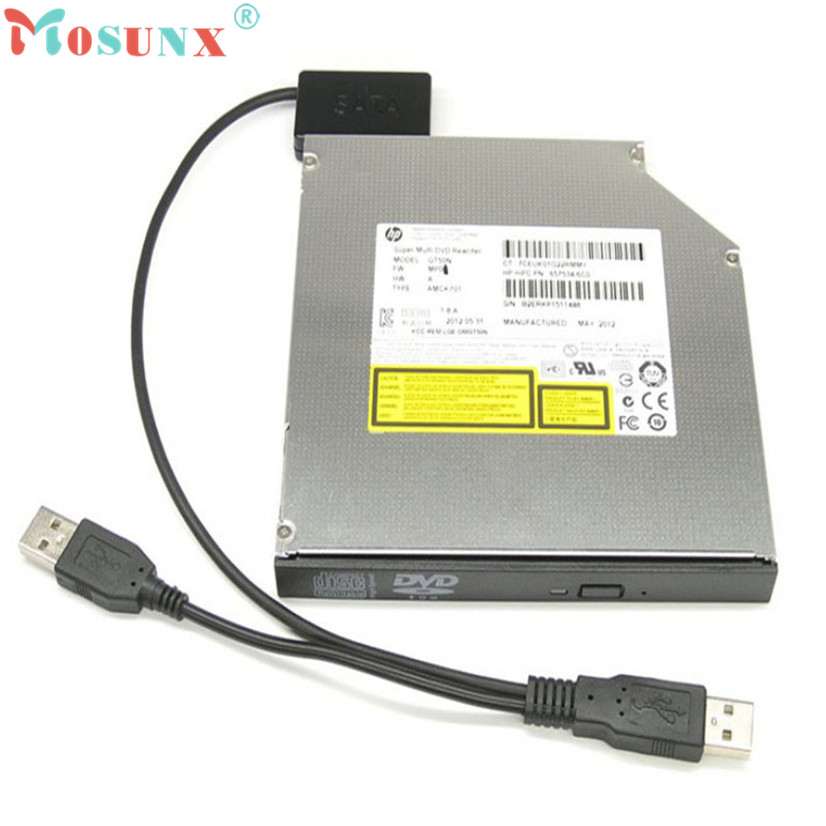 Factory price Hot Selling Laptop USB 2.0 to 7+6 13Pin Slimline Slim for SATA CD/DVD Optical Drive Adapter Cable Drop Shipping weijinto 100pcs usb 2 0 to mini sata ii 7 6 13pin adapter converter cable for laptop cd dvd rom drive fast ship by dhl ems