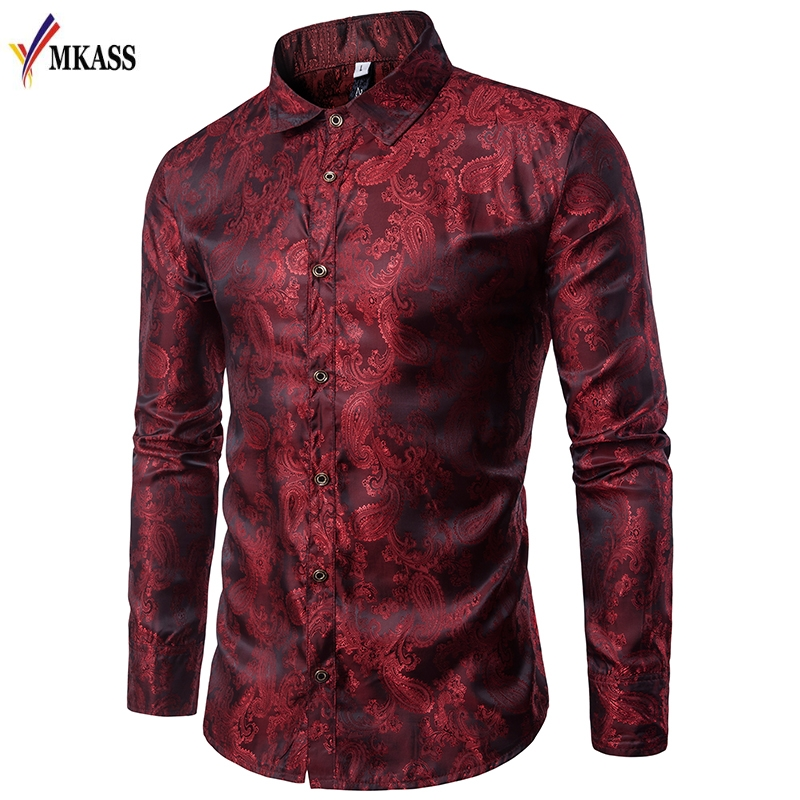 Men Shirt Mens Business Casual Shirts 2018 New Arrival Men MKASS Brand Clothing Embroidery Printing Long Sleeve Camisa Masculina