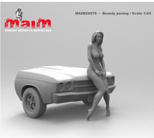 1/24 75mm Car Wash Girl Summer NOT HAVE CAR   Resin Model Miniature  Figure Unassembly Unpainted