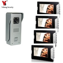 YobangSecurity 7″ TFT Color LCD Video Door Phone Visual Intercom Doorbell 1-camera 4-monitor Hands Free IR Camera Night Vision