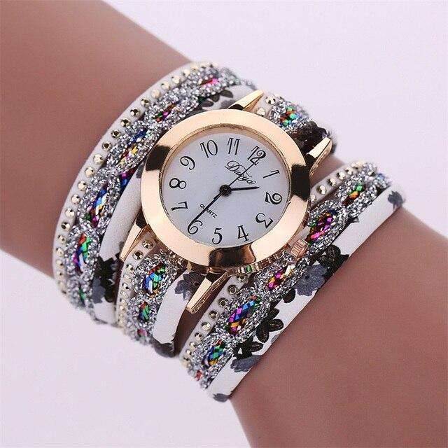 MINHIN Women Popular New Watches Colorful Multi Layers Leather Bracelet Quartz W