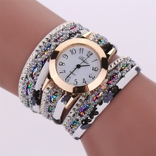 MINHIN Women Popular New Watches Colorful Multi Layers Leather Bracelet Quartz