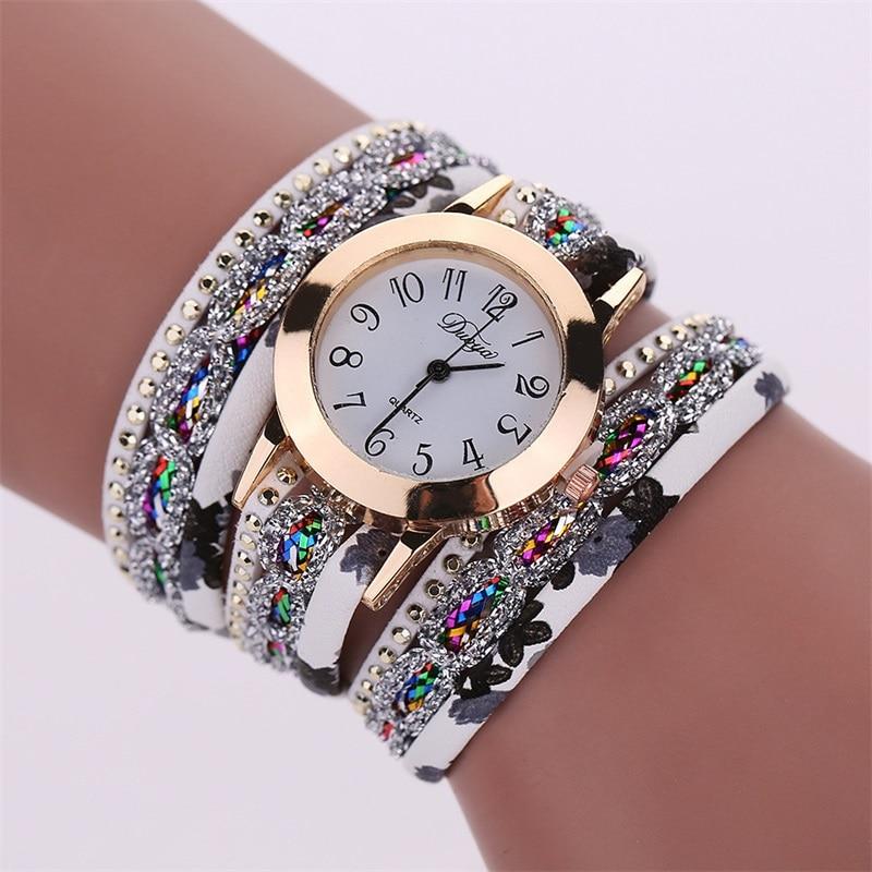 MINHIN Women Popular New Watches Colorful Multi Layers Leather Bracelet Quartz Watch Dress Montre Relogio Wristwatch Wholesale